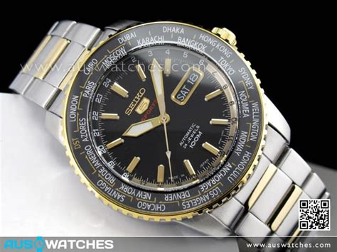 buy seiko 5 automatic world time two tone sports srp130j1 srp130 japan buy watches