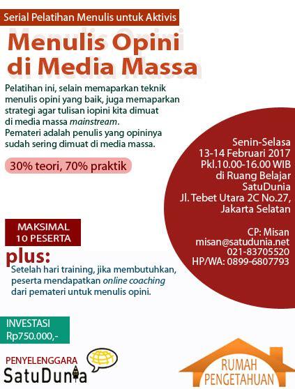 Menulis Opini Di Media Massa | workshop menulis opini di media massa firdaus c