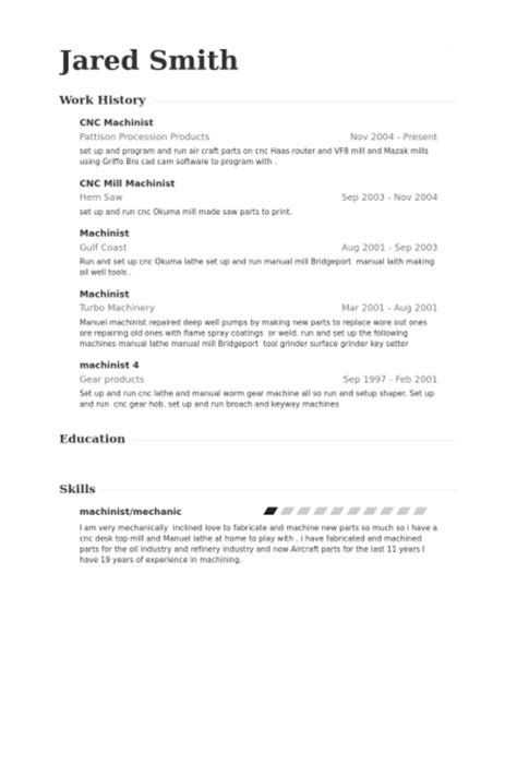 Machinist Resume by Resume For Cnc Machinist Best Resume Gallery