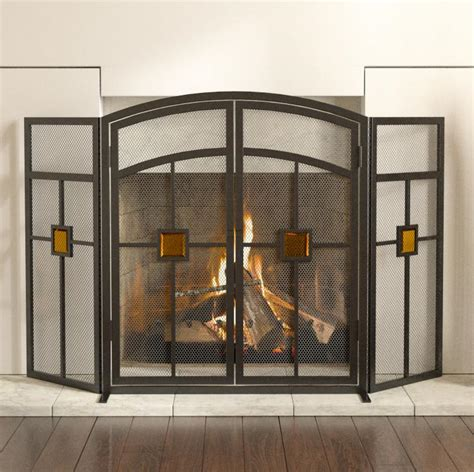 panacea fireplace screen panacea 15137 3 panel fireplace screen mission with glass