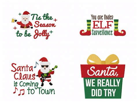 santa     cute funny quotes machine embroidery pack embroidery super deal