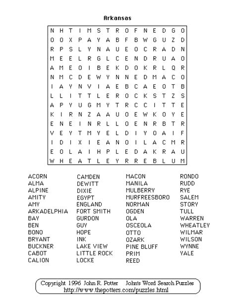 Search Arkansas S Word Search Puzzles Arkansas