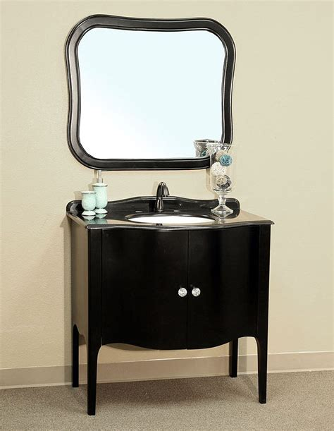 Small Powder Room Vanity - bellaterra home 203037 black bathroom vanity black granite countertop