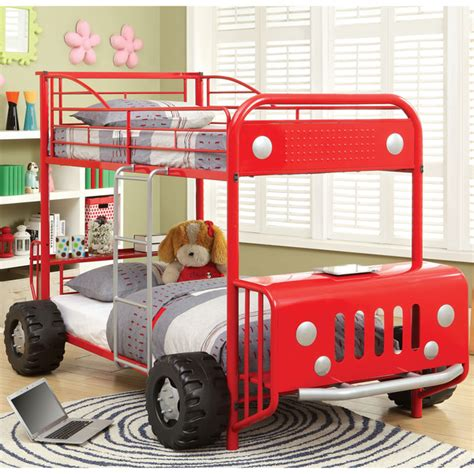 Good Car Styling Accessories #14: Furniture-of-America-Jones-Metal-SUV-Inspired-Twin-over-Twin-Bunk-Bed.jpg