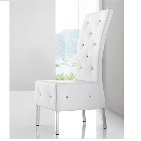 Asam Studded Faux Leather Dining Room Chair In White 21093 Studded Dining Room Chairs