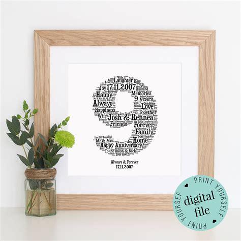 personalised  anniversary gift word art printable