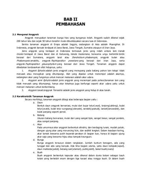 format makalah bab 2 contoh makalah makalah anggrek