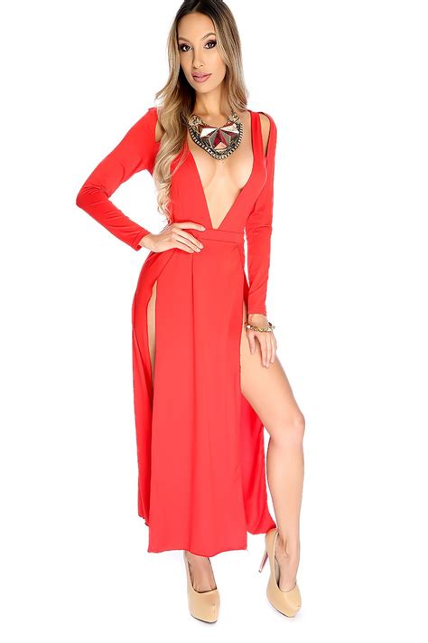 Chest Dress by Sleeve Open Chest Side Slit Dress