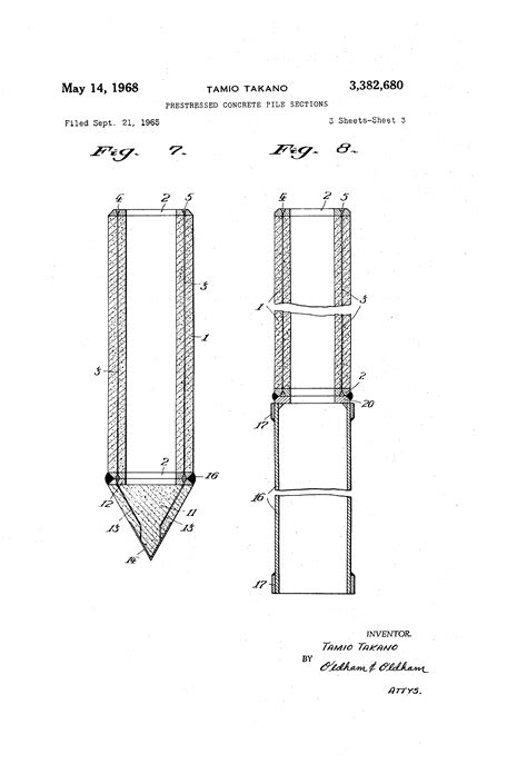 pile section patent us3382680 prestressed concrete pile sections