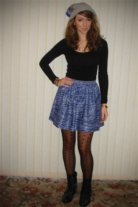 silver hats black h m tops blue skirts black tights