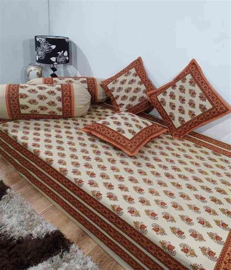 Single Bed Sheet Sets Heritage Orange Ethnic Cotton Diwan Set Single Bed Sheet W 3 Cushion Covers 2 Bolster Covers
