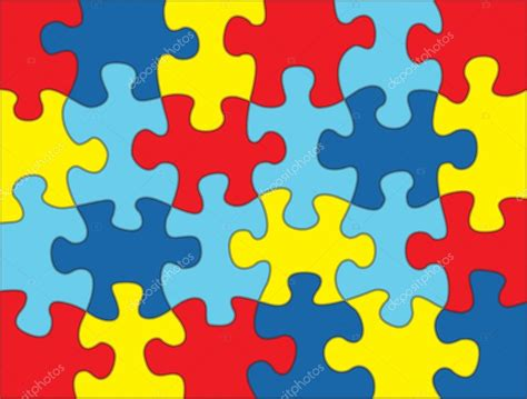 puzzle pieces in autism awareness colors background