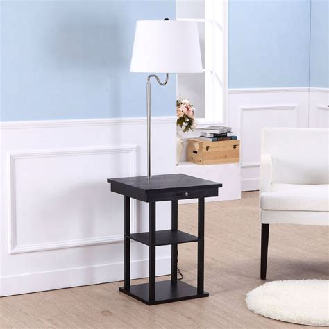 floor l with usb port in modern side table floor l with white shade and usb