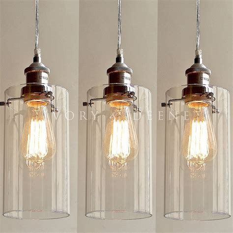 Kitchen Pendant Light Fittings 3 Allira Glass Pendants Filament Light Chrome Fittings Industrial Vintage New Ebay