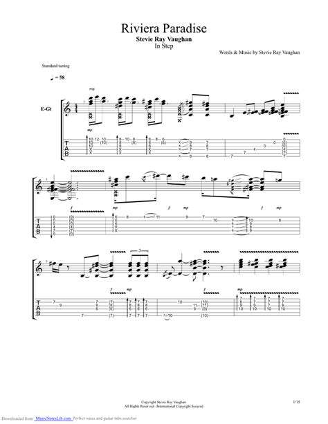 riviera paradise guitar pro tab  stevie ray vaughan  musicnoteslibcom