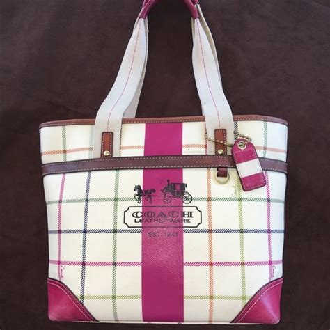 Coach Tattersall Travel Tote by Coach Coach Tattersall Tote From Tricia S Closet On Poshmark