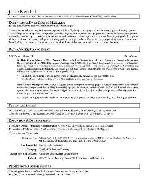 Data Center Administrator Cover Letter by Data Center Administrator Resume Free Resume Templates