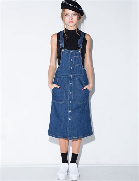 lyst pixie market denim overall suspender midi dress in blue