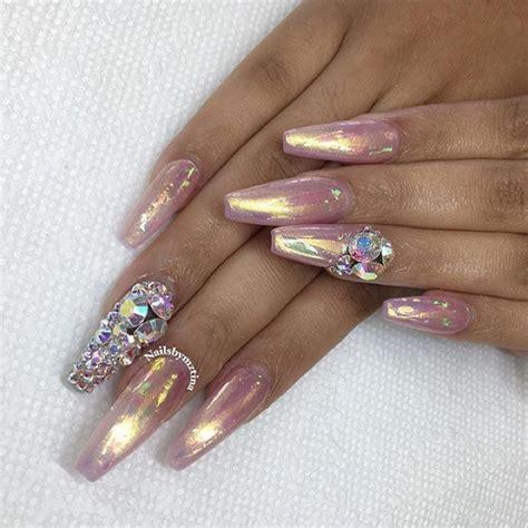 chrome nails like wat u see follow me sanayadiamonds for more nails