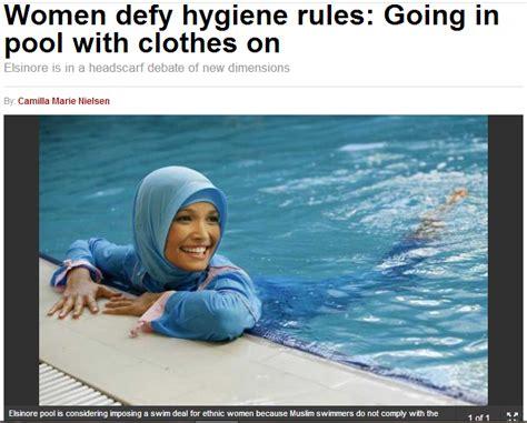 female swimmer hygiene denmark fully clothed muslim females refusing swim hall