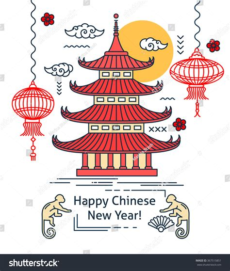 new year monkey lantern template new year flat thin line stock vector 367515851