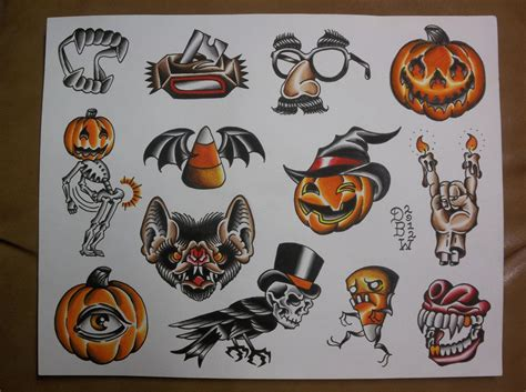 halloween tattoo ideas traditional flash sheet 10 00 via