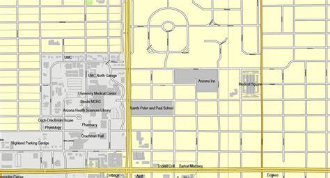 printable zip code map of tucson az tucson arizona us exact map printable vector street