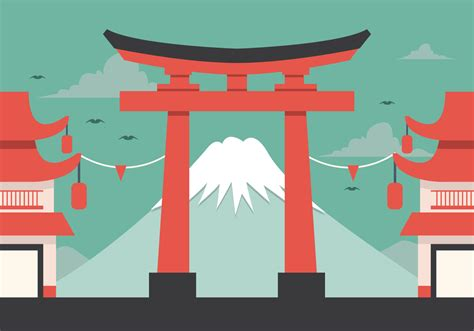 Japanese Minimalist vector fuji and torii download free vector art stock