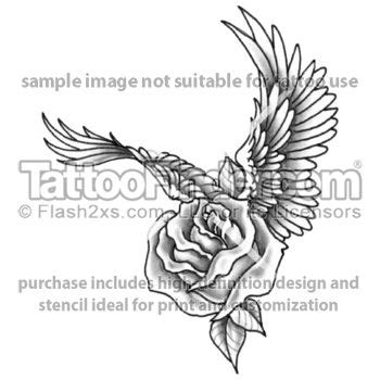 rose tattoo with angel wings with wings design by edward tattoos