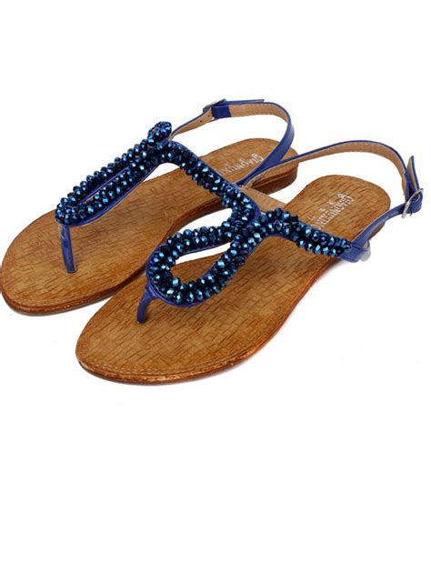 beaded flat sandals summer newest belt buckle beaded blue flat sandals