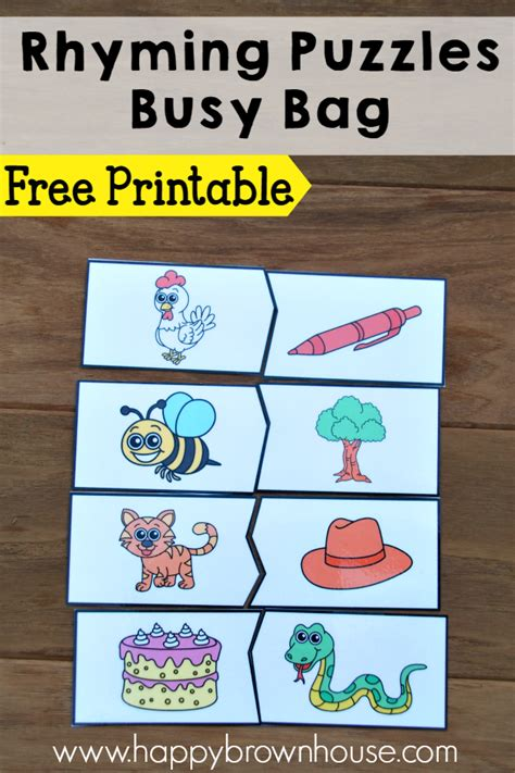 Printable Rhyming Puzzles | rhyming puzzles busy bag happy brown house