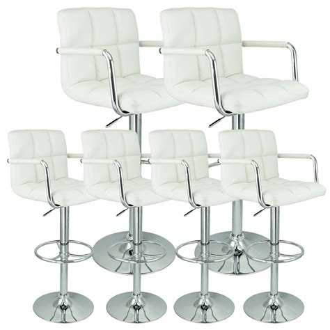 6 adjustable hydraulic barstool swivel bar stool white 6 swivel white w arm pu leather modern adjustable