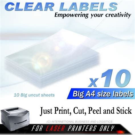 printable clear sticker paper singapore 10x a4 huge clear laser printer labels transparent glass