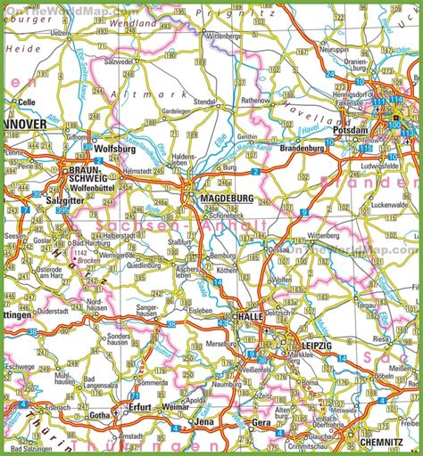 saxony germany map saxony anhalt road map