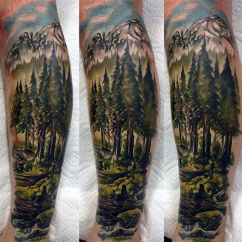forest scene tattoo 100 nature tattoos for great outdoor designs