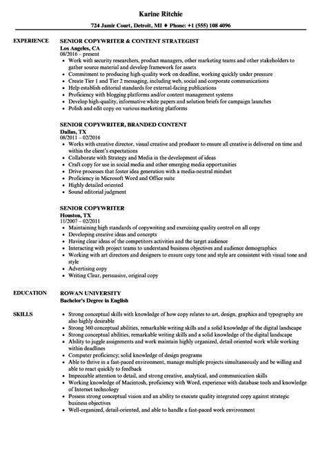 Senior Copywriter Resume Sles Velvet Jobs Copywriter Resume Template