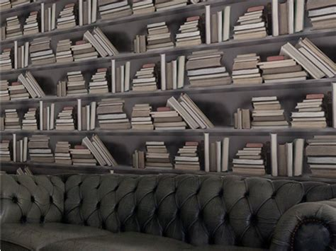 trompe l oeil wallpaper vintage bookshelf by mineheart