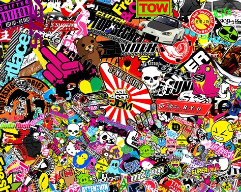 jdm sticker wallpaper image gallery jdm sticker bomb black