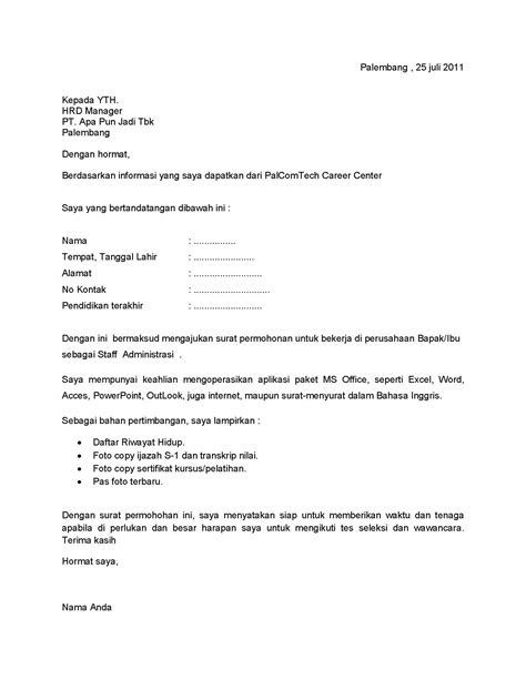 contoh surat lamaran kerja karir palcomtech
