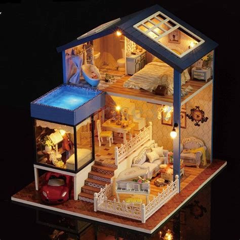 miniature dolls for doll houses seattle cottage dollhouse miniature diy kit dolls house with furniture gift new ebay