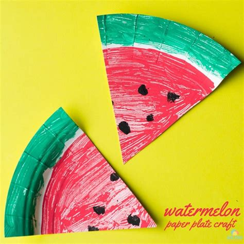 Watermelon Paper Craft - watermelon paper plate craft the garden glue