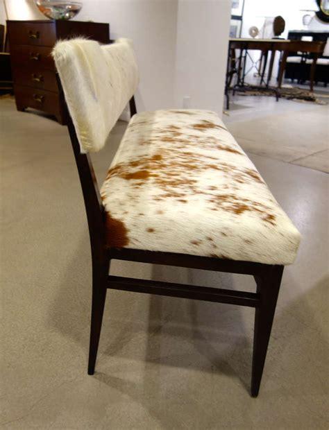 upholstered settee bench mid century modern italian cowhide upholstered settee or