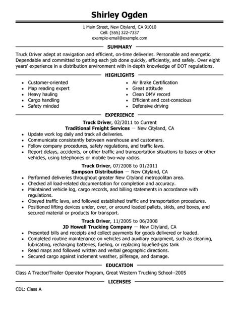 Resume Sles For Truck Drivers by Truck Driver Resume Sle
