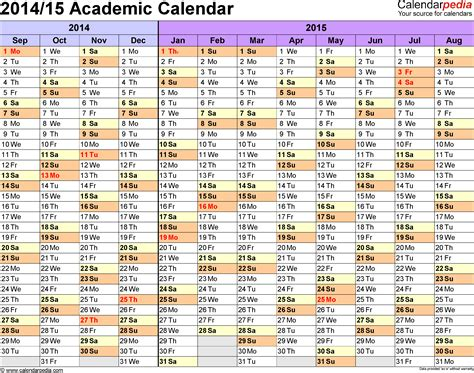 2014 2015 academic calendar template academic calendars 2014 2015 as free printable word templates