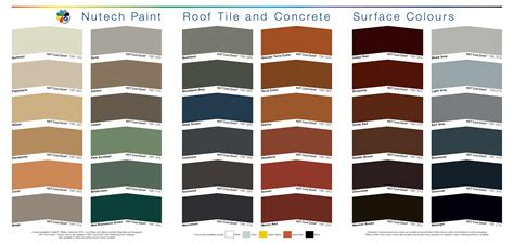 roof color colour chart from nutech paint for your roof brisco roofing