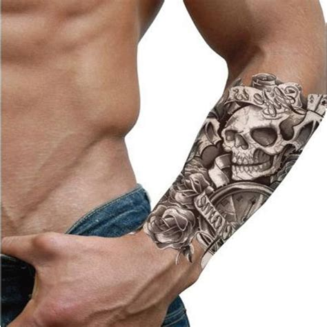waterproof rose amp clock amp skull pattern temporary tattoo