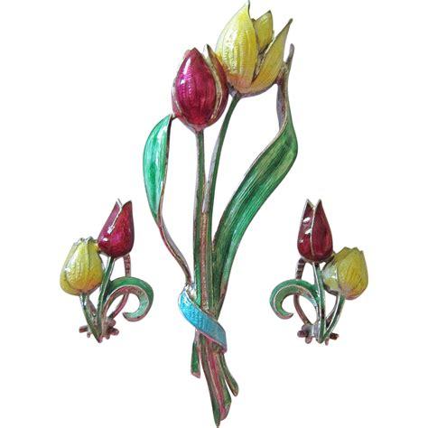 Tulips Earrings large silver 835 enamel tulips brooch and clip earrings