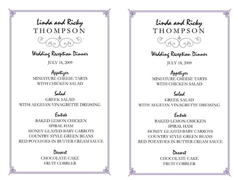 wedding menu sles templates wedding menu template 5 printable designs