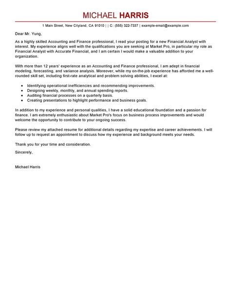 Finance Cover Letter Exles For Internships Best Accounting Finance Cover Letter Exles Livecareer