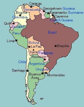 labeled map of central and south america south america and central america capitals map quiz